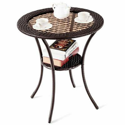 Round Rattan Wicker Coffee Table Glass Top Steel Frame Patio