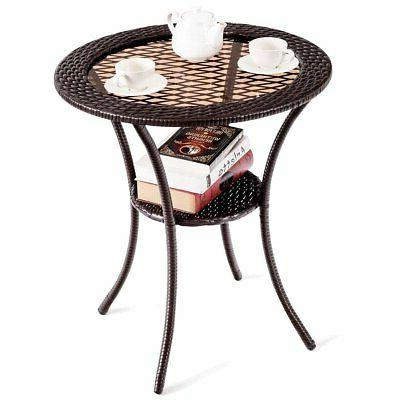 Round Wicker Table with
