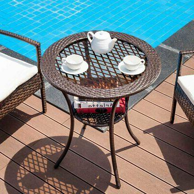 Round Rattan Table with