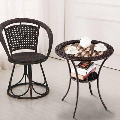 Round Rattan Table with Lower