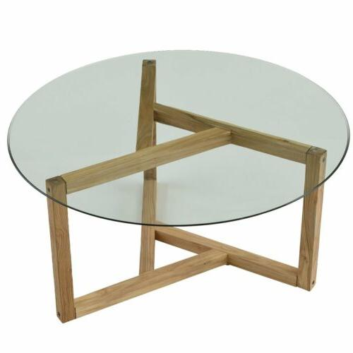 Round Side Coffee Table Top Living Room Wood