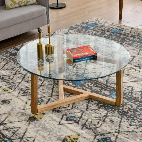 Round Tea Table Clear Top Living Furniture Wood