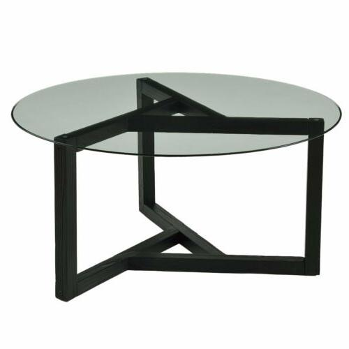 Round Tea Coffee Table Clear Top Wood