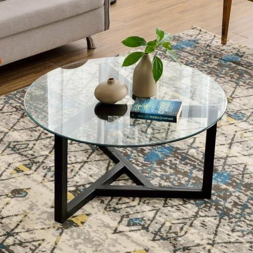 Round Side Table Tempered Top Living Wood