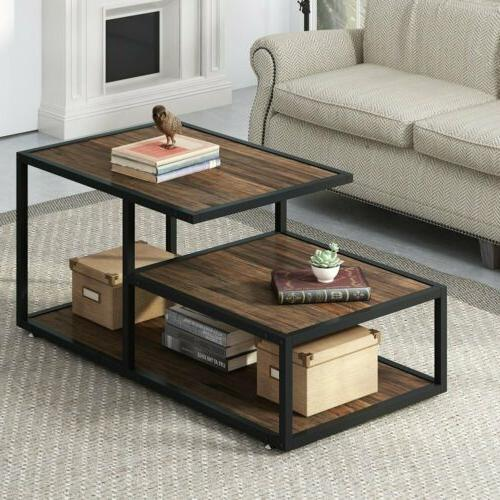 Tribesigns Rustic Coffee Table Vintage Tea Table with Shelve