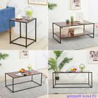 Rustic Iron Frame Coffee Table Wood Veneer Grain Storage Sur