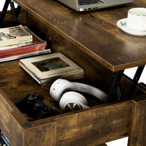Rustic Top Table Compartment&Storage For