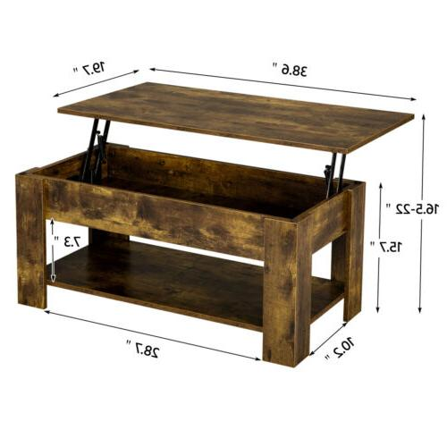Rustic Lift Coffee Table w/Hidden For Room