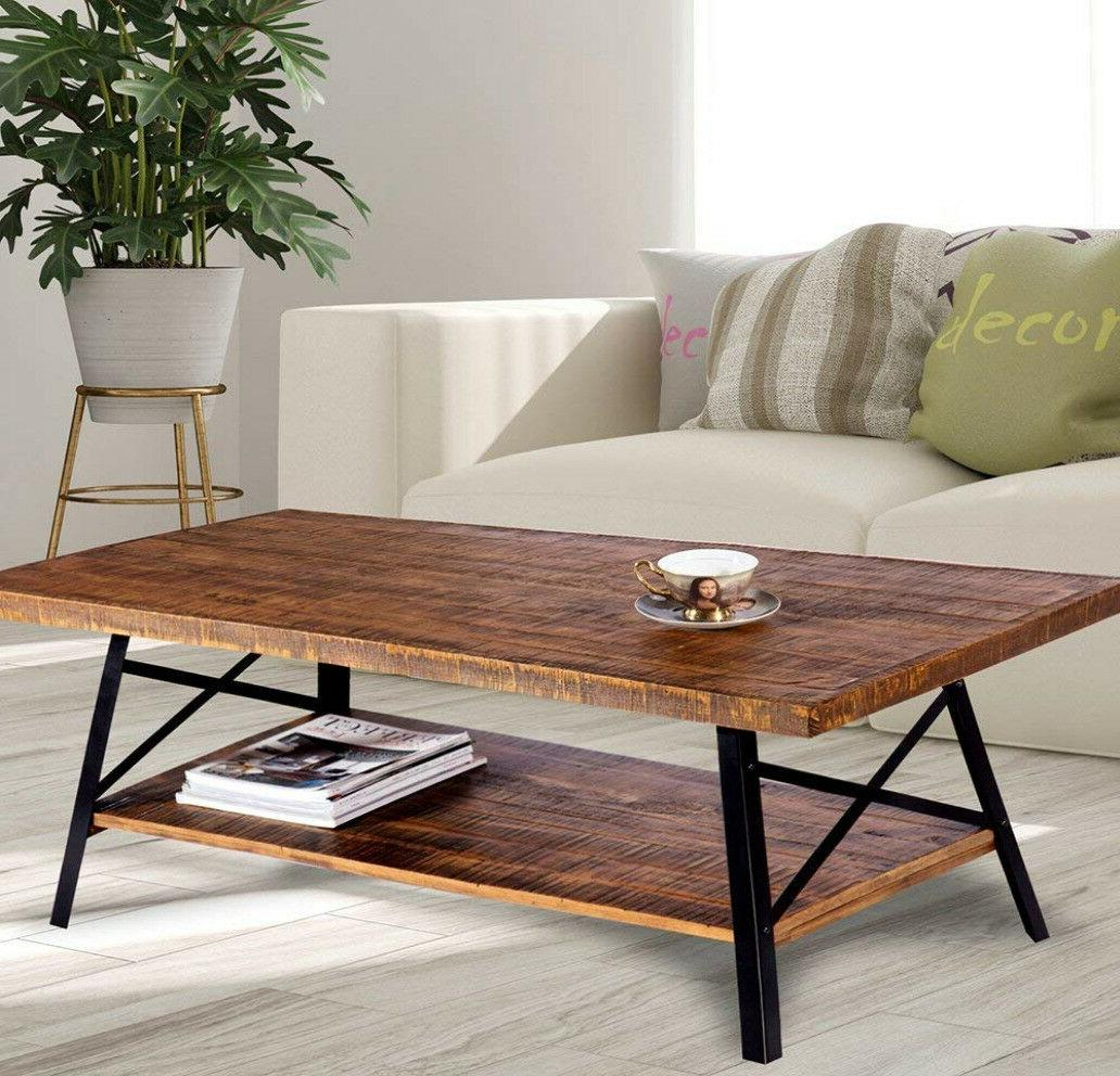 rustic wood coffee table with shelf storage