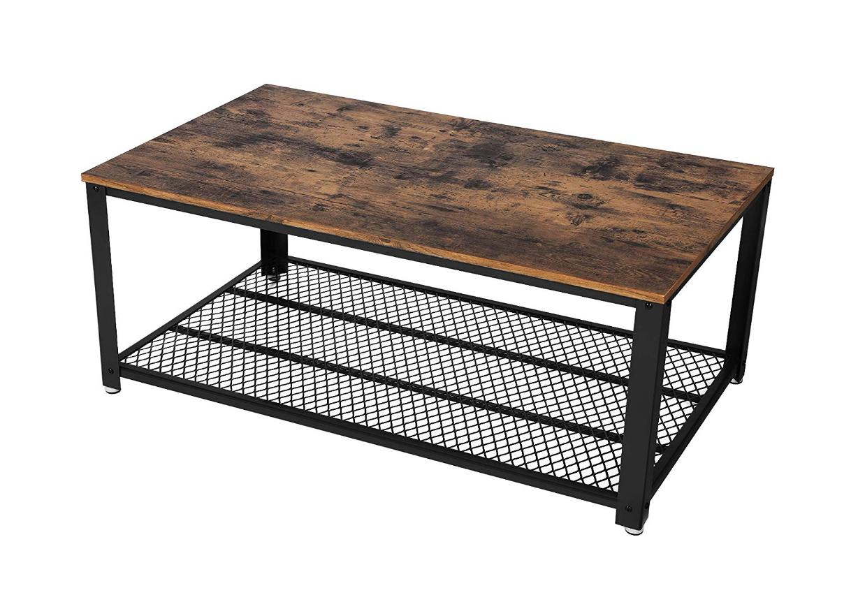 Rustic Coffee with Storage Metal Frame