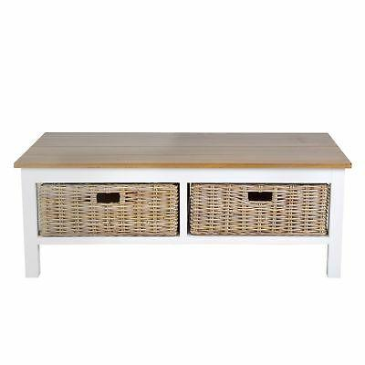 East White Wood Rectangular Coffee Table
