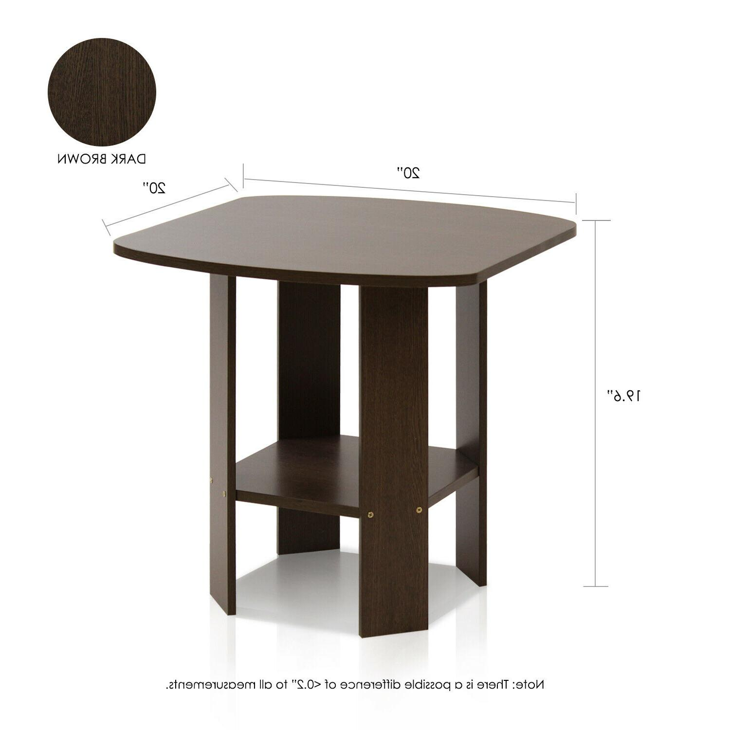 Set of 2 Side Table Night Stand Coffee Table Shelf