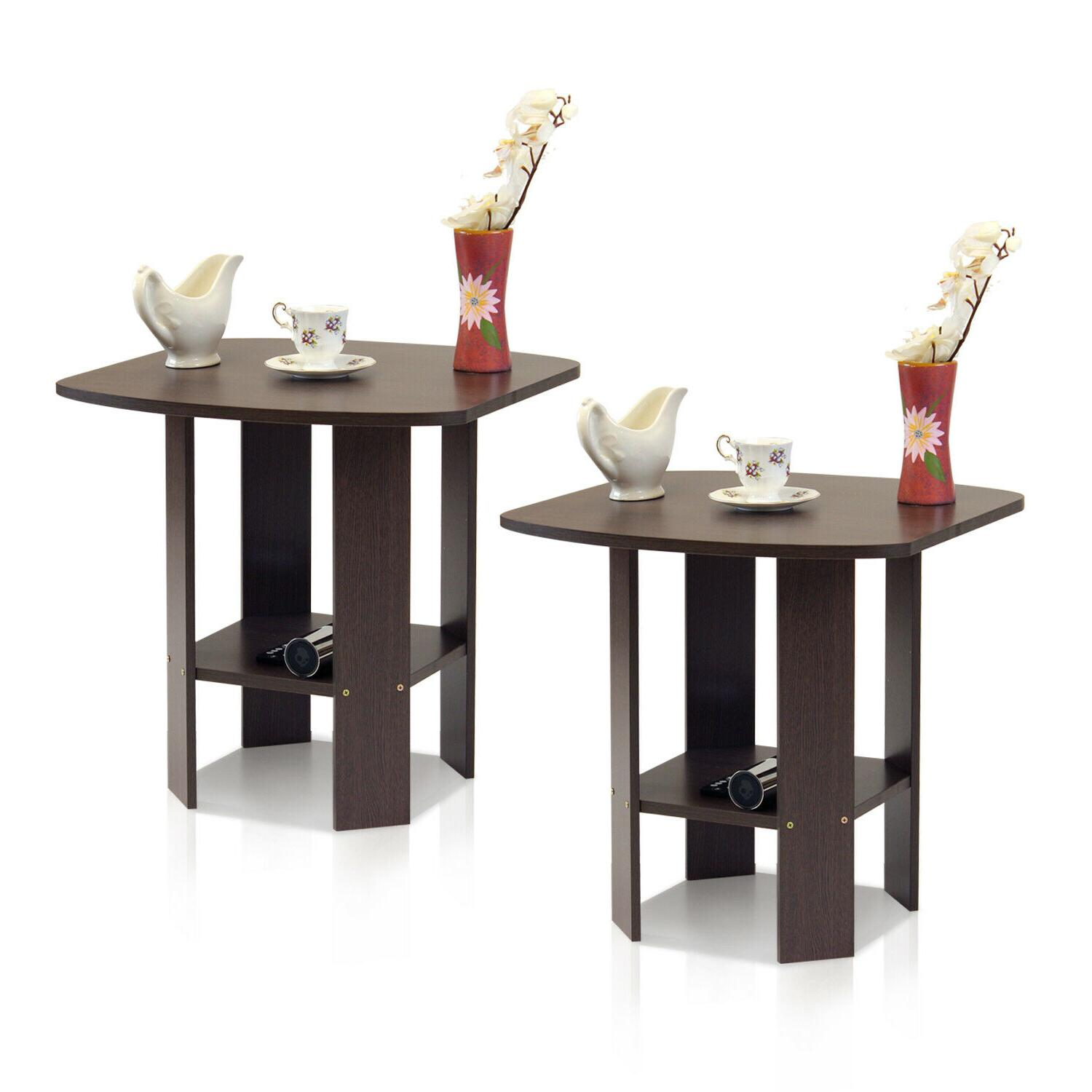 Set of Side Table Table Night Table Shelf