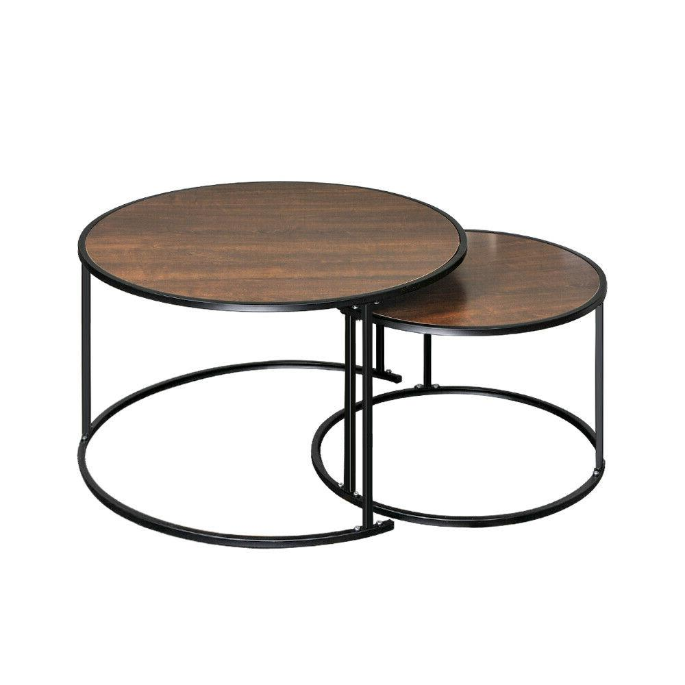 Set 2 Round coffee Table Side End Table Leg Living Room US