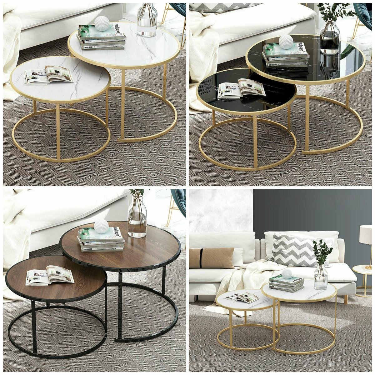 set of 2 modern round coffee table