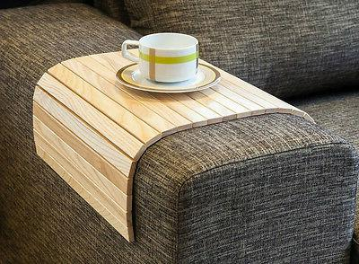SOFA TRAY TABLE NATURAL, Wood Coffee Table, Armrest Table, C