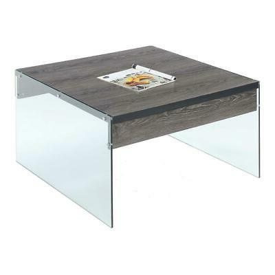 Convenience Concepts Square Coffee Gray Wood Finish