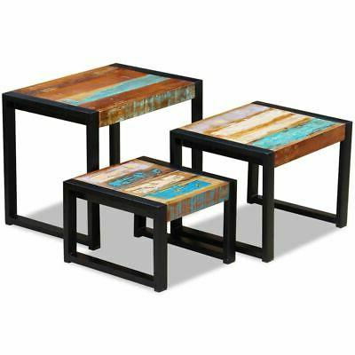 vidaXL Solid Reclaimed Wood Nesting Coffee Table Set 3 Piece