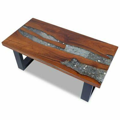 vidaXL Solid Teak Coffee Side Table Resin Mango Wood Handmad