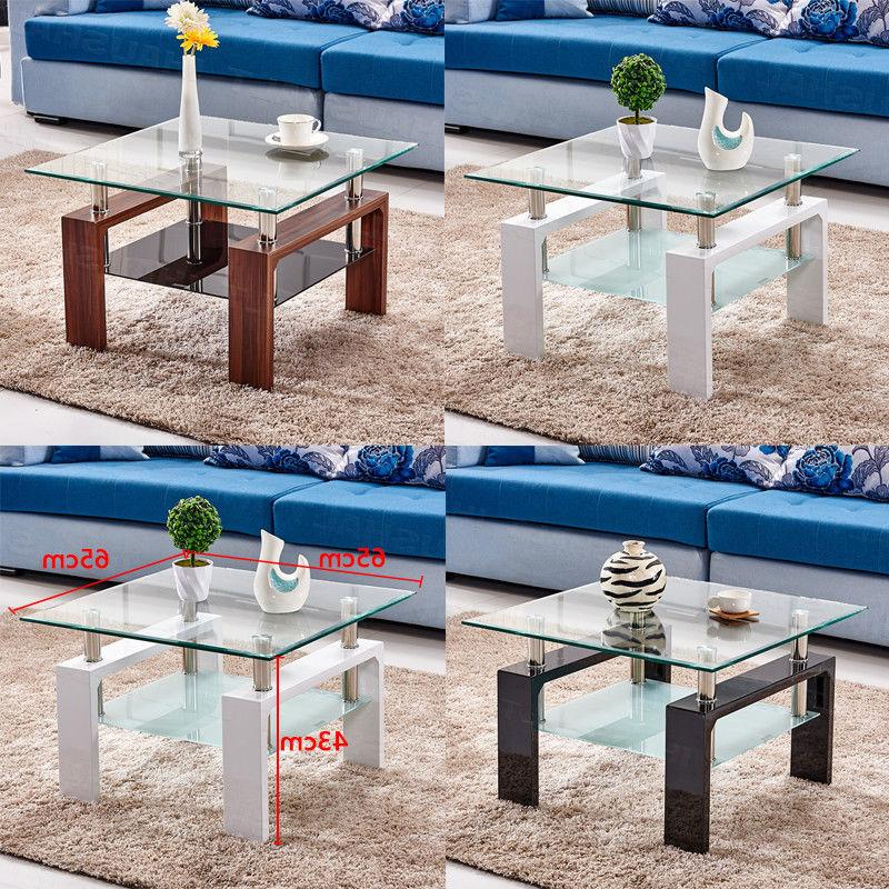 Square Coffee Table in Clear Tempered Glass Top with Shelf W
