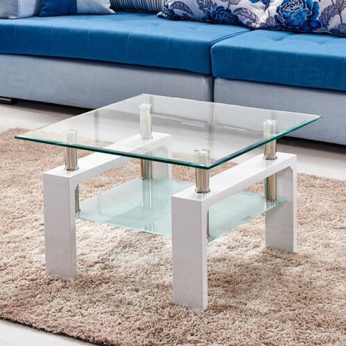 Square Coffee Table Tempered Glass Living