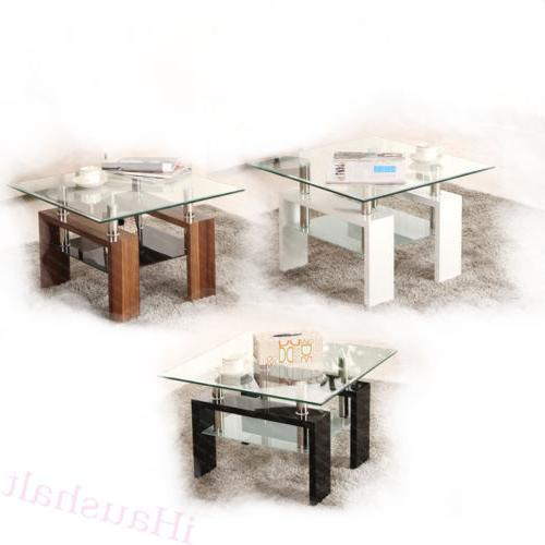 Square Coffee Table Tempered Glass Under Shelf Storage Livin