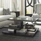 square wood coffee table in carbon gray
