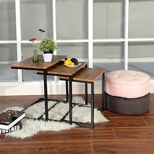 Lillyarn 3pc Stacking Coffee Table Set 3 Side Set Snack Table Brown