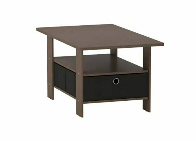 Stylish Coffee Table Bin Dark Brown Living Room Stand Storages Drawers