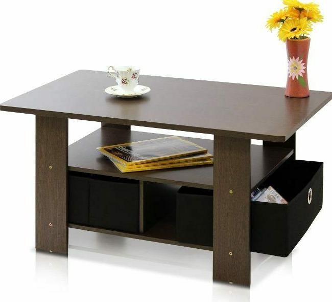 Stylish Coffee Table With Bin Room Storages Drawers