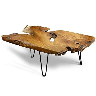 teak petrified wood coffee table
