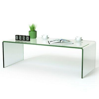Tempered Glass Coffee Table Accent Cocktail Side Table Livin