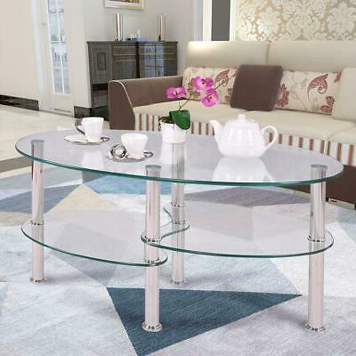clear glass coffee table oval side chrome
