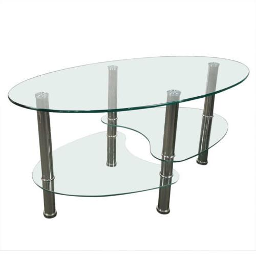 Tempered Glass Coffee Table Shelf Living Room Decor
