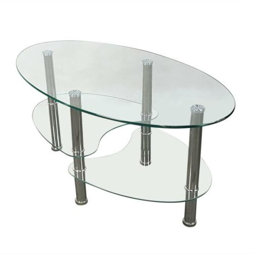 Tempered Oval Side Coffee Table Shelf Living Decor