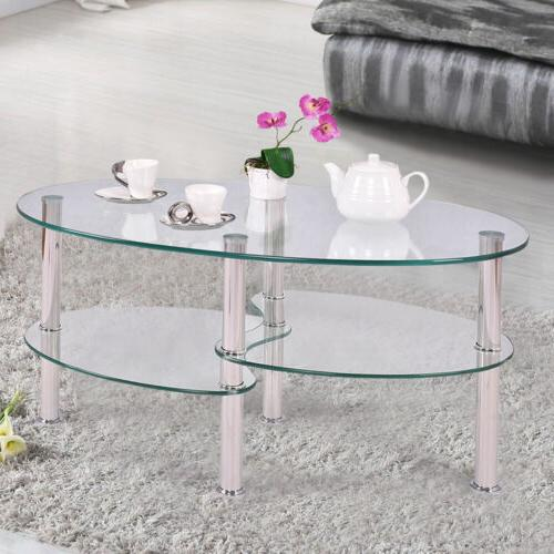 Tempered Glass Side Coffee Transparent Living Room Furniture
