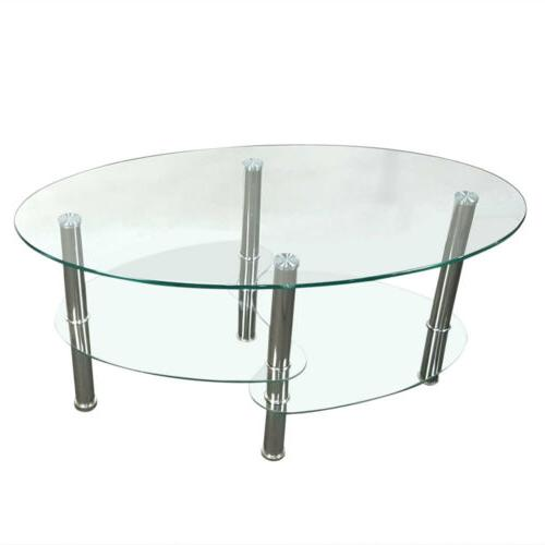 Tempered Oval Coffee Living Furniture