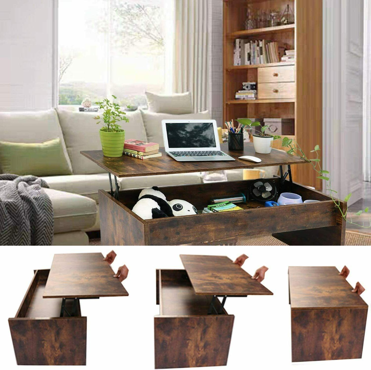 Top Coffee Table w/ Compartment Shelf Room