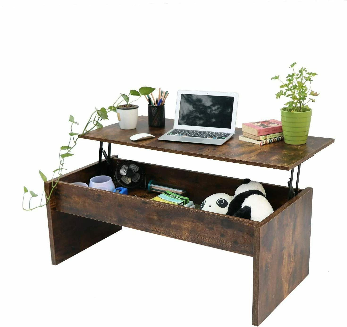 top lift coffee table w hidden compartment