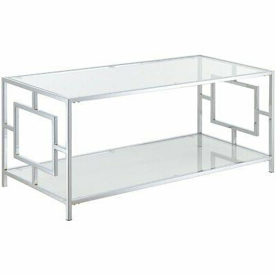 town square glass top coffee table in