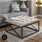 Tufted Ottoman Coffee Table Square Fabric Linen Metal Frame