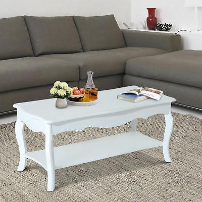 HomCom Two Tier Rectangular Living Room Coffee Table w/ Stor
