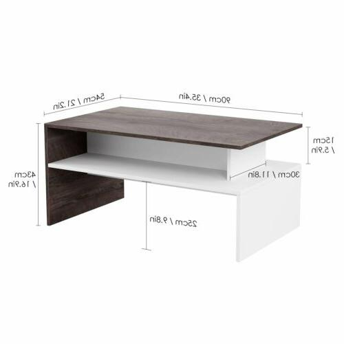 Two-tone 2-Tier Coffee Side Living Organizer