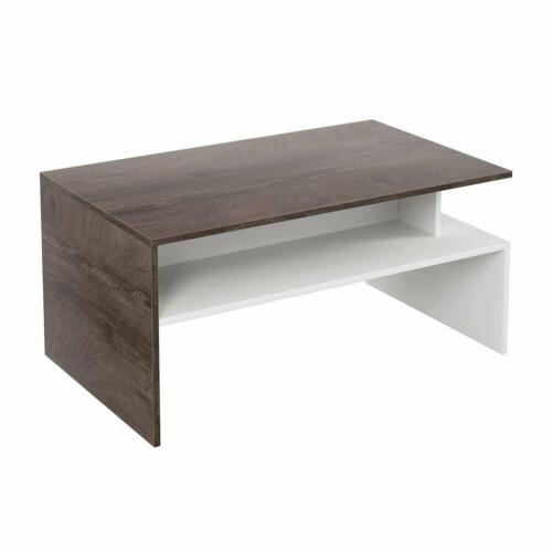 Two-tone Modern Wooden Coffee Table Side Desk Living Room