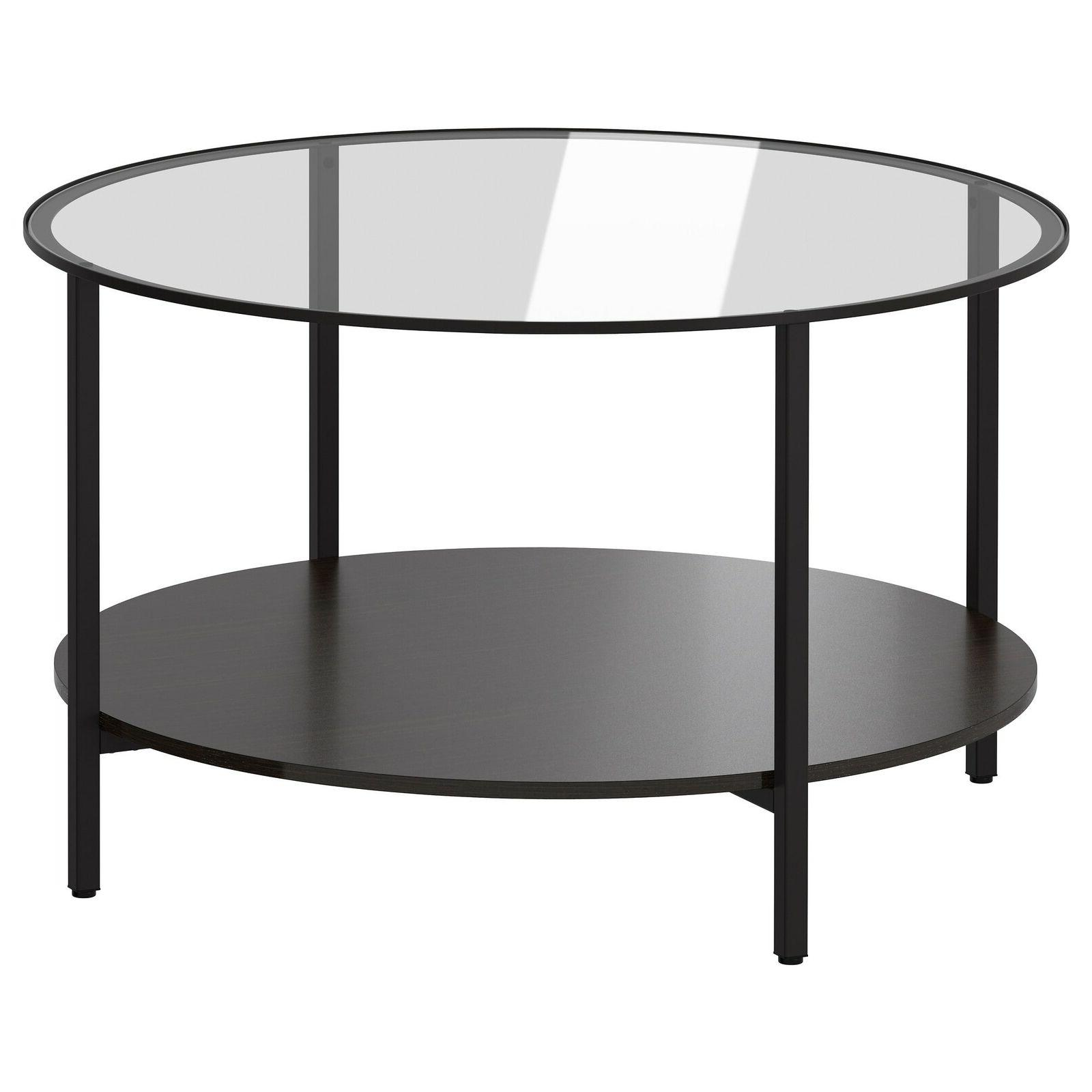 vittsjo coffee table round metal frame glass