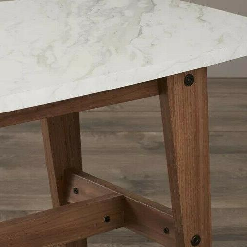 """Walker Edison Coffee Table 49"""" with Wood Base, Carrara Marble Top"""