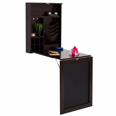 Tangkula Wall Mounted Table Fold Out Space Saver Wood Conver