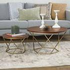 WE Furniture Geometric Glass Nesting Coffee Tables - black