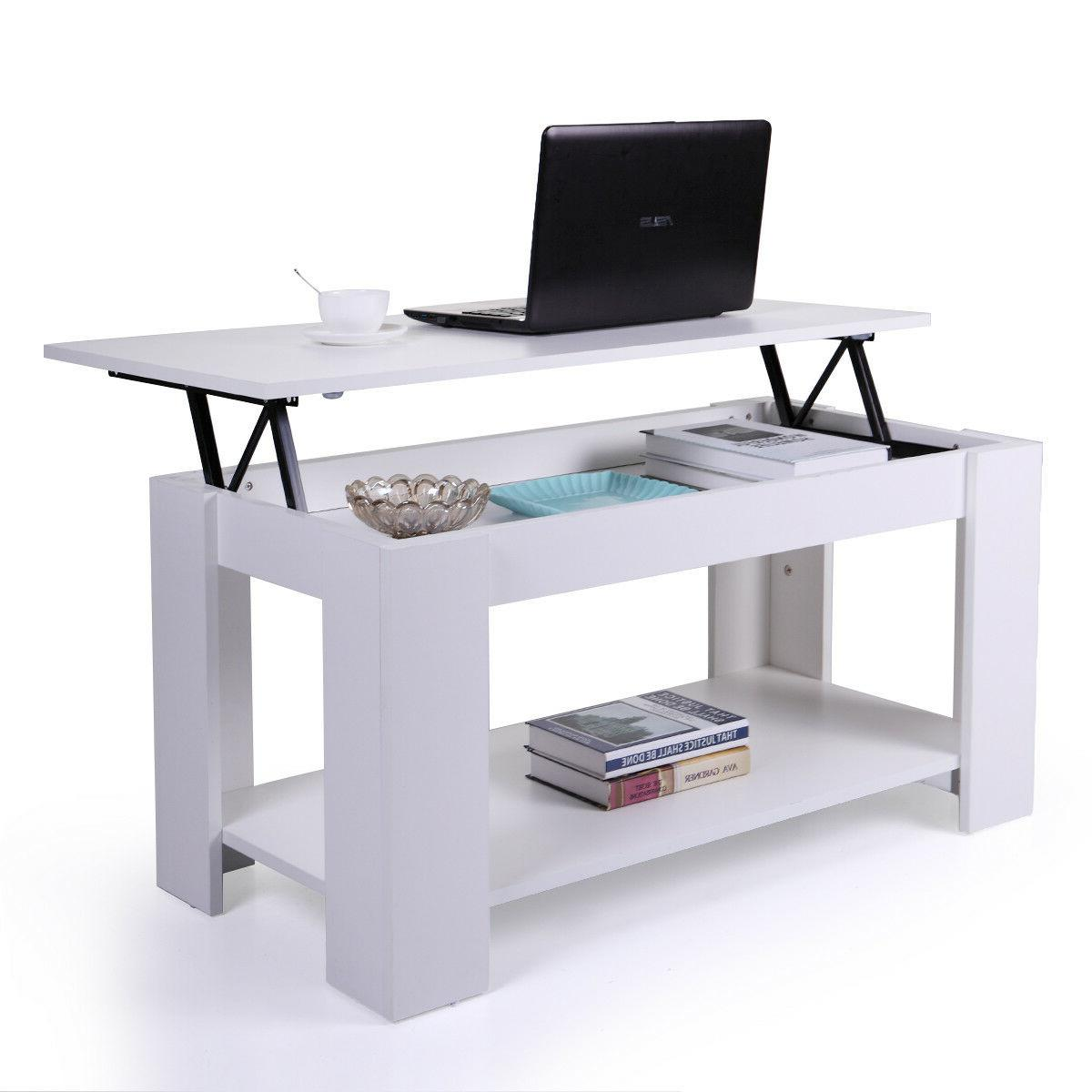 White Coffee Table Lift Top Storage Shelves Wood Living Room