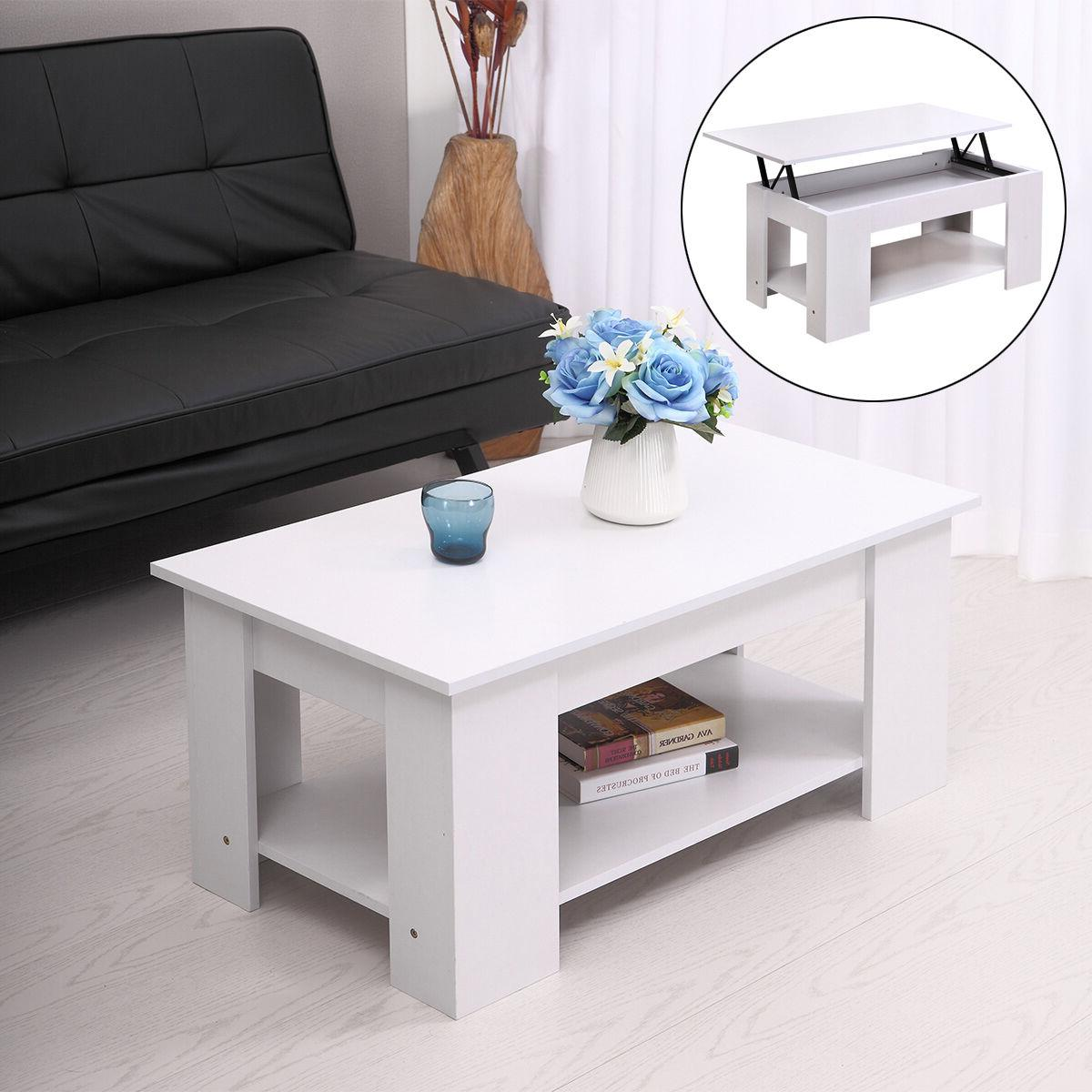 White Modern Wood Lift Top Coffee Table with Storage Space L